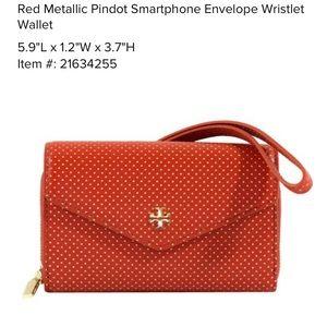 Tory Burch red metallic dot envelope wristlet